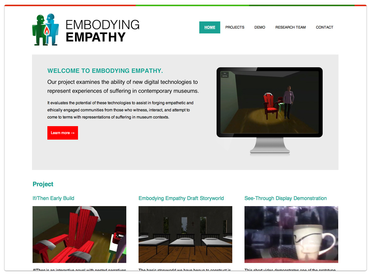 Embodying Empathy - A Media Lab Project - University of Manitoba - Desktop View
