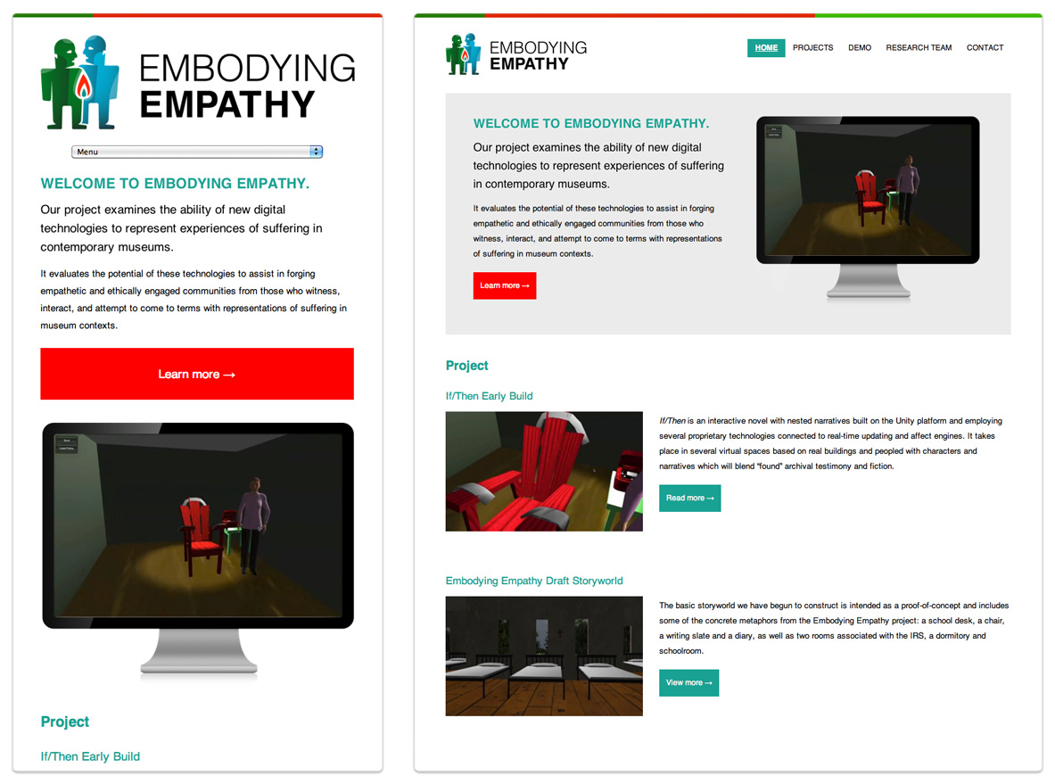 Embodying Empathy - A Media Lab Project - University of Manitoba - Mobile Phone and Tablet View