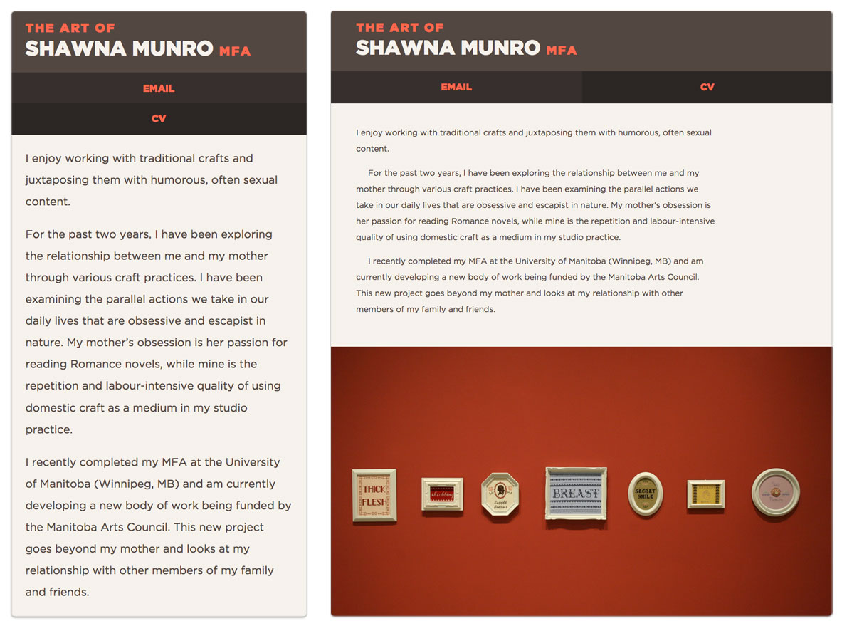 Shawna Munro - Website Design - Mobile View
