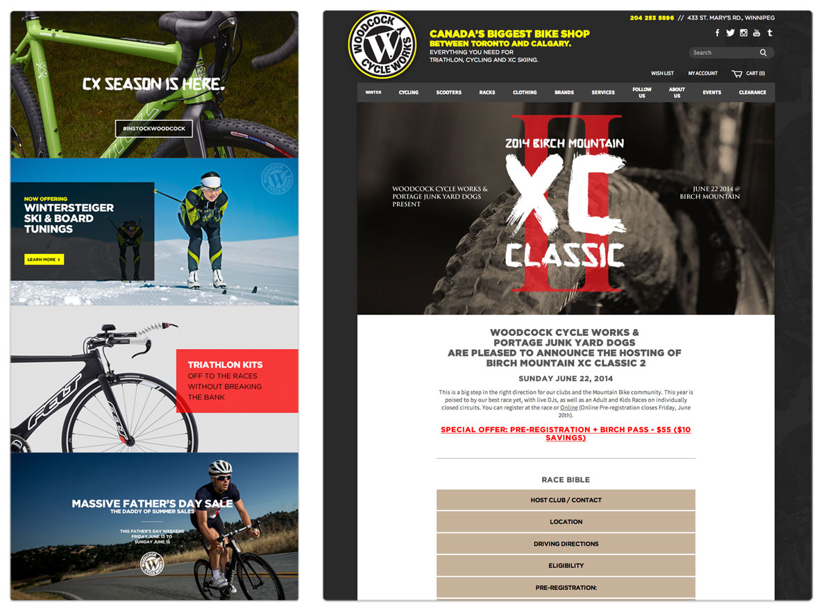 Woodcock Cycle Works - Website Re-design - Desktop View